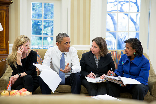 President Barack Obama meets with, from left: Kathryn Ruemmler, Lisa Monaco, and Susan E. Rice (White House Flickr photo by Pete Souza)  Read more at http://observer.com/2014/06/all-the-presidents-muses-obama-and-prosecutorial-misconduct/#ixzz34fUKEMYE Follow us: @newyorkobserver on Twitter | newyorkobserver on Facebook